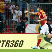 Galatasaray's celebrates his goal Burak Yilmaz during their Turkish Super League soccer match Galatasaray between Akhisar Belediyespor at the TT Arena at Seyrantepe in Istanbul Turkey on Sunday 23 September 2012. Photo by TURKPIX