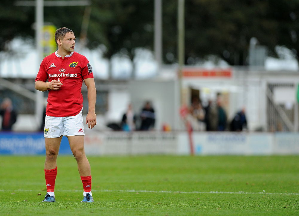 Munster A's Dave Johnston<br /> <br /> Photographer Ashley Crowden/CameraSport<br /> <br /> The British & Irish Cup Pool 1 - Ospreys Premiership Select v Munster A - Saturday 14th October 2017 - St Helen's, Swansea<br /> <br /> World Copyright © 2017 CameraSport. All rights reserved. 43 Linden Ave. Countesthorpe. Leicester. England. LE8 5PG - Tel: +44 (0) 116 277 4147 - admin@camerasport.com - www.camerasport.com