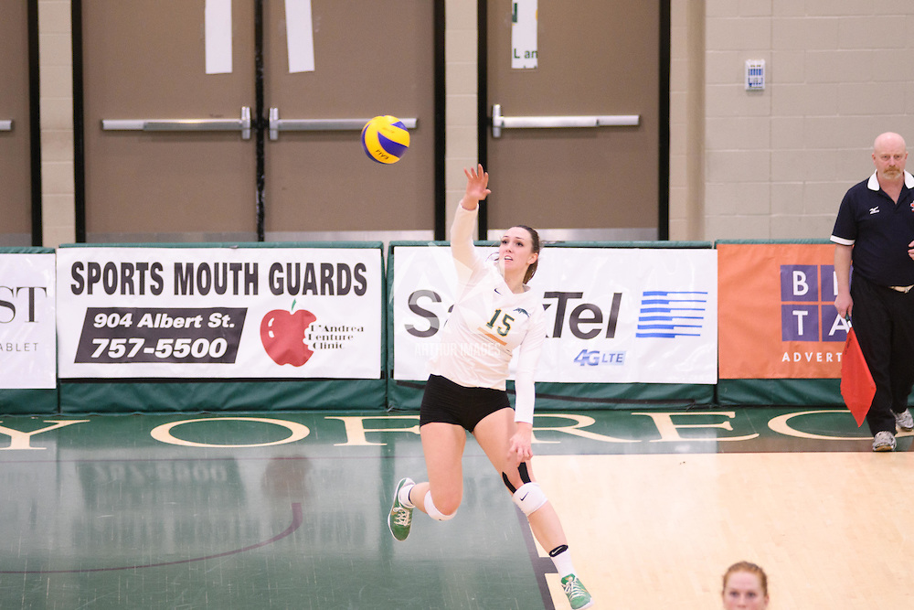 5th year outside hitter Jenna Krahn (15) of the Regina Cougars in action during Women's Volleyball home game on November 18 at Centre for Kinesiology, Health and Sport. Credit: /Arthur Images