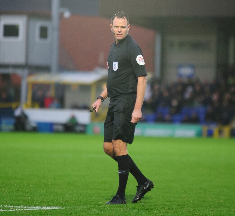 Referee James Linington<br /> <br /> Photographer Andrew Vaughan/CameraSport<br /> <br /> The EFL Sky Bet League One - AFC Wimbledon v Lincoln City - Saturday 2nd November 2019 - Kingsmeadow Stadium - London<br /> <br /> World Copyright © 2019 CameraSport. All rights reserved. 43 Linden Ave. Countesthorpe. Leicester. England. LE8 5PG - Tel: +44 (0) 116 277 4147 - admin@camerasport.com - www.camerasport.com