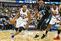 August 17, 2018 - Dallas, TX, U.S. - DALLAS, TX - AUGUST 17: Tri-State David Hawkins #34 tries to dribble around Cuttino Mobley #5 during the Big 3 Basketball playoff game between the Power and the Tri-State on August 17, 2018 at the American Airlines Center in Dallas, Texas. Power defeats Tri-State 51-49. (Photo by Matthew Pearce/Icon Sportswire) (Credit Image: © Matthew Pearce/Icon SMI via ZUMA Press)