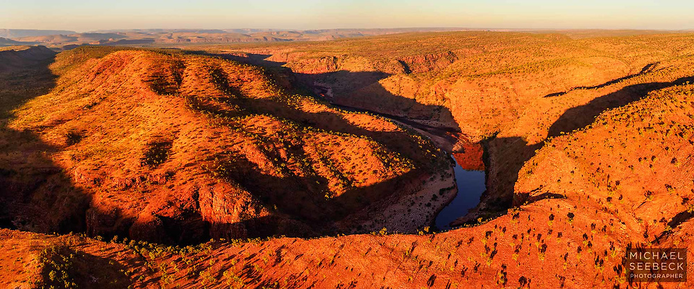 A panoramic photograph of Chamberlain River Gorge captured from a helicopter late in the afternoon in the 'dry season'..<br /> <br /> Code: CAWK0002<br /> <br /> Limited Edition Print