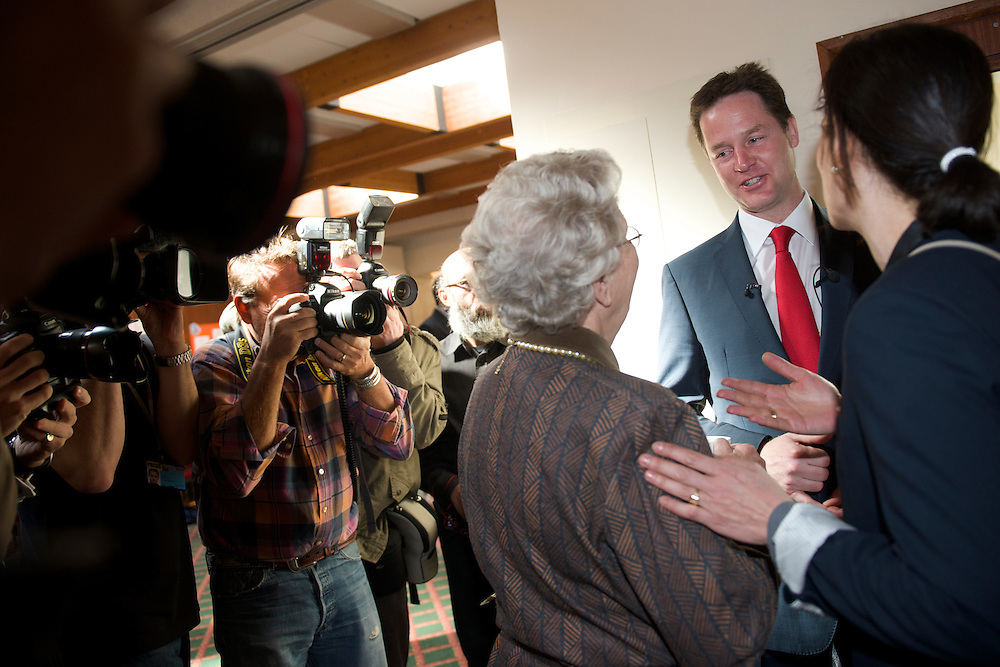 Liberal Democrat leader Nick Clegg and wife Miriam Gonza?lez Dura?ntez campaign in New Malden, Surrey on 18 April 2010.  Clegg delivered a speech on international development to the congregation of Christ Church, New Malden.  Following the first ever general election televised debate along with Gordon Brown and David Cameron, in which Clegg was widely seen to have won, the Lib Dem support has soared.  With the general election looming on 6 May 2010, candidates are campaigning at a torrid pace, holding many events throughout the UK.