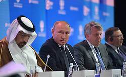 October 3, 2018 - Moscow, Russia - October 3, 2018. - Russia, Moscow. - Russian President Vladimir Putin takes part in the plenary session 'Sustainable energy for a changing world' during the 2nd Russian Energy Week international energy efficiency and energy development forum, at the Manezh Exhibition Center. (Credit Image: © Russian Look via ZUMA Wire)