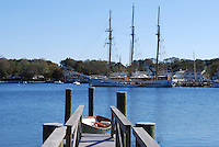 Three-masted schooner moored on the Mystic River, Mystic, Connecticut, small quaint town near the estuary. 201110175244..<br /> <br /> Copyright Image from Victor Patterson, Belfast, UK<br /> <br /> t: +44 28 9066 1296 (from Rep of Ireland 048 9066 1296)<br /> m: +44 7802 353836<br /> e: victorpattersonbelfast@gmail.com<br /> <br /> www.images4media.com<br /> <br /> Please see my full Terms and Conditions of Use at https://www.images4media.com/p/terms-conditions - it is IMPORTANT that you familiarise yourself with them.<br /> <br /> Images used online incur an additional cost. This cost should be agreed in writing in advance. Online images must be visibly watermarked i.e. © Victor Patterson or that of the named photographer within the body of the image. The original metadata must not be deleted from images used online.<br /> <br /> This image is only available for the use of the download recipient i.e. television station, newspaper, magazine, book publisher, etc, and must not be passed on to a third party. It is also downloaded on condition that each and every usage is notified within 7 days to victorpattersonbelfast@gmail.com.<br /> <br /> The right of Victor Patterson (or the named photographer) to be identified as the author is asserted in accordance with The Copyright Designs And Patents Act (1988). All moral rights are asserted.