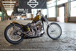 Custom 1948 Panhead built by Jason Phares for Dustin Cramer on setup day at the Congregation Show in Charlotte, NC. USA. Friday April 13, 2018. Photography ©2018 Michael Lichter.