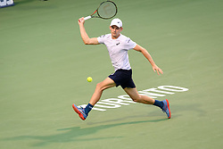 August 6, 2018 - Toronto, ON, U.S. - TORONTO, ON - AUGUST 06: David Goffin (BEL) returns the ball during his first round match of the Rogers Cup tennis tournament on August 6, 2018, at Aviva Centre in Toronto, ON, Canada. (Photograph by Julian Avram/Icon Sportswire) (Credit Image: © Julian Avram/Icon SMI via ZUMA Press)