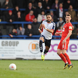 TELFORD COPYRIGHT MIKE SHERIDAN 23/3/2019 - Brendon Daniels of AFC Telford and Craig Clay of Orient during the FA Trophy Semi Final fixture between AFC Telford United and Leyton Orient at the New Bucks Head