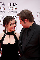 Actress Jennie Jacques and Actor Moe Dunford at the IFTA Film & Drama Awards (The Irish Film & Television Academy) at the Mansion House in Dublin, Ireland, Saturday 9th April 2016. Photographer: Doreen Kennedy