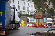 A French borders closed sign at the entrance into the port of Dover due to a new strain of COVID-19 in the Eastern Dock where the cross channel port is situated with ferries departing to go to Calais in France on the 21st of December 2020, Dover, Kent, United Kingdom. Dover is the nearest port to France with just 34 kilometres (21 miles) between them. It is one of the busiest ports in the world. As well as freight container ships it is also the main port for P&O and DFDS Seaways ferries.  (photo by Andrew Aitchison)