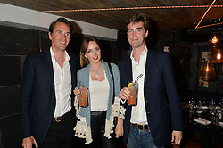 Left to right, OTIS FERRY, LADY ALICE MANNERS and TOM FABER at the launch of Geisha at Ramusake hosted by Piers Adam and Marc Burton at Ramusake, 92B Old Brompton Road, London on 11th June 2015.