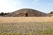 All Cannings, near Devizes, Wiltshire, <br /> UK 22nd September 2014 the newly completed modern-day neolithic style long barrow burial chamber, a columbarium or place for cremated remains in urns.