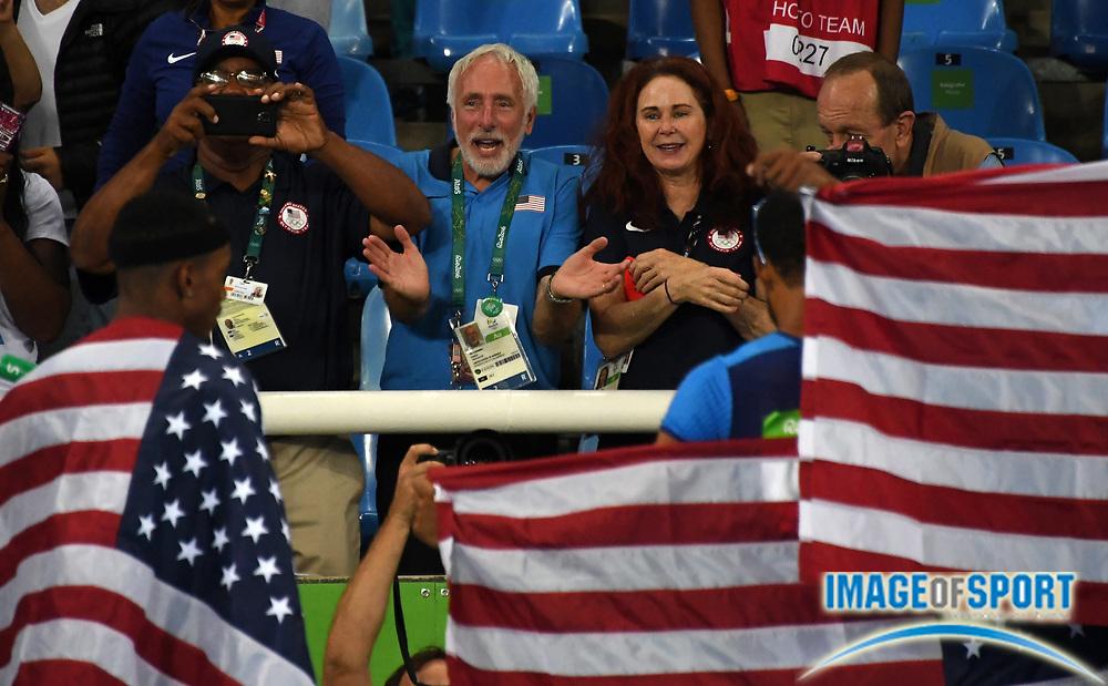 Aug 20, 2016; Rio de Janeiro, Brazil; United States coaches Curtis Frye (left), Vin Lananna (center) and Rose Monday react during the 2016 Rio Olympics at Estadio Olimpico Joao Havelange. <br /> <br /> *