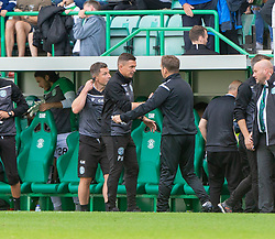 Hibernian's manager Paul Heckingbottom and Alloa Athletic's manager Peter Grant at the end. Hibernian 2 v 0 Alloa Athletic, Betfred Cup game played Saturday 20th July at Easter Road, Edinburgh.