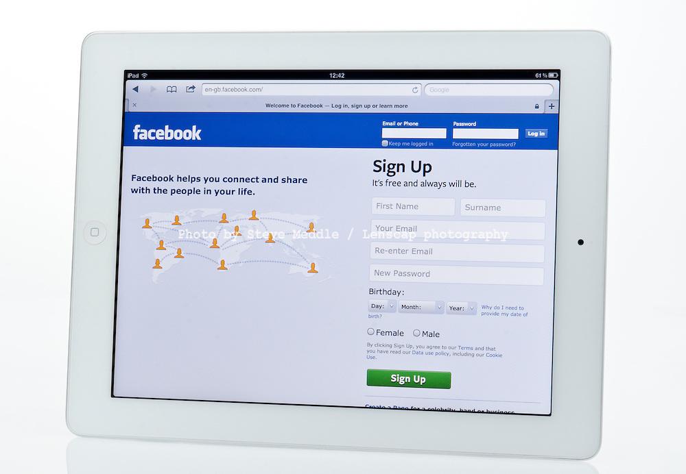 Apple Ipad showing Facebook Social Networking Website  - Jan 2013.