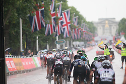 The peloton approaches the finish line in the tenth lap of the Prudential Ride London Classique - a 66 km road race, starting and finishing in London on July 29, 2017, in London, United Kingdom. (Photo by Balint Hamvas/Velofocus.com)