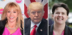 File photos of (from the left) Toyah Willcox, Donald Trump and Ruth Davidson.