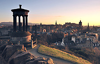 A view over Edinburgh from Calton Hill at sunset.