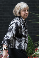 Downing Street, London, September 15th 2015.  Home Secretary Theresa May leaves 10 Downing Street after attending the weekly cabinet meeting
