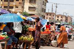 April 12, 2020, Lagos, Nigeria: Residents buy and sell at Sunday Market, Ogba, Lagos, Nigeria on Sunday, April 12, 2020. Christians celebrate Easter festival indoor in compliance with of ongoing stay-at-home and lockdown orders by the government to contain the spread of Coronavirus (COVID-19) pandemic. (Credit Image: © Adekunle Ajayi/NurPhoto via ZUMA Press)