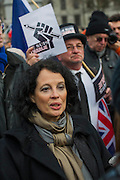 The French Ambassador, Sylvie Bermann. Je suis Charlie/I am Charlie - A largely silent (with the occasional rendition of the Marseilaise)gathering in solidarity with the march in Paris today.  Trafalgar Square, London, UK 11 Jan 2015