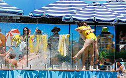 A young couple get engaged on the pool deck during day two of the Ashes Test match at The Gabba, Brisbane.