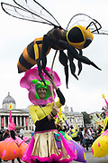 An Extinction Rebellion climate activist holds a bee puppet in Trafalgar Square before a colourful March for Nature on the final day of their two-week Impossible Rebellion on 4th September 2021 in London, United Kingdom. Extinction Rebellion are calling on the UK government to cease all new fossil fuel investment with immediate effect.