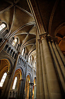 Vertical photo of a vaulted ceiling in the The Cathedral of Notre Dame of Lausanne, Lausanne, Switzerland
