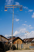 Babo or elaborate structured wooden pole erected during the festival of Myoko<br /> Apatani Tribe<br /> Ziro Valley, Lower Subansiri District, Arunachal Pradesh<br /> North East India
