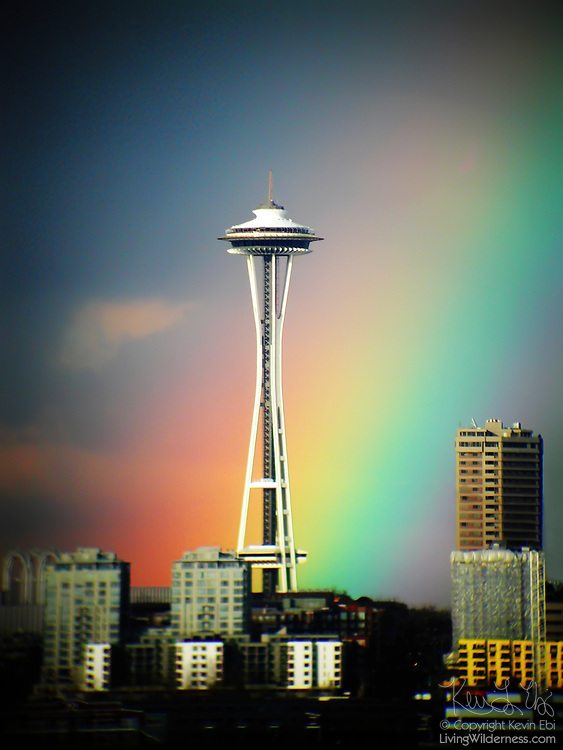 A bright rainbow appears to end at the base of the Space Needle in Seattle, Washington. The 604-foot (184 meter) tower, built for the 1962 World's Fair, was at one time the tallest building west of the Mississippi River.