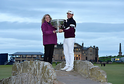 England's Tyrrell Hatton and mum Karen pose with the trophy on the Swilken bridge after winning during day four of the Alfred Dunhill Links Championship at St Andrews Old Course, Fife.
