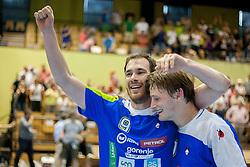 Jure Natek #9 of and Jure Dolenec #10 of Slovenia during handball match between National teams of Slovenia and Hungary in play off of 2015 Men's World Championship Qualifications on June 15, 2014 in Rdeca dvorana, Velenje, Slovenia. Photo by Urban Urbanc / Sportida