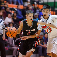 Grants Pirate Michael Valenzuela (5) pushes past Crownpoint Eagle Anthony James (23) Wednesday at Wingate High School.