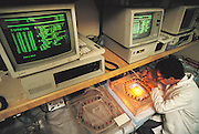 Research on the human genome: Caltech scientist Kai Wand loading an electrophoresis gel into a computer-controlled system used for DNA sequencing of human chromosomes. DNA sequencing involves decoding the base pair sequence of sections of DNA encode specific proteins. Sequencing and mapping chromosomes to locate genes or other important markers - are two phases in the human genome project. The human genome is a complete genetic blueprint - a detailed plan of every gene expressed in all 23 pairs of human chromosomes. MODEL RELEASED (1989).