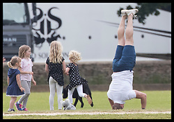 June 11, 2017 - Westonbirt, United Kingdom - Image licensed to i-Images Picture Agency. 11/06/2017. Westonbirt, United Kingdom. Mike Tindall does a handstand at the Gloucestershire Festival of Polo at Beaufort Polo Club in Westonbirt, Gloucestershire, United Kingdom. Picture by Stephen Lock / i-Images (Credit Image: © Stephen Lock/i-Images via ZUMA Press)