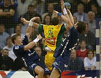 Håndball,<br /> Handball Champions League Finale <br /> Flensburg Handewitt - Pivovarna Celje<br /> Johnny Jensen, Uros Zorman, Marcin Lijewski<br /> Foto: Digitalsport