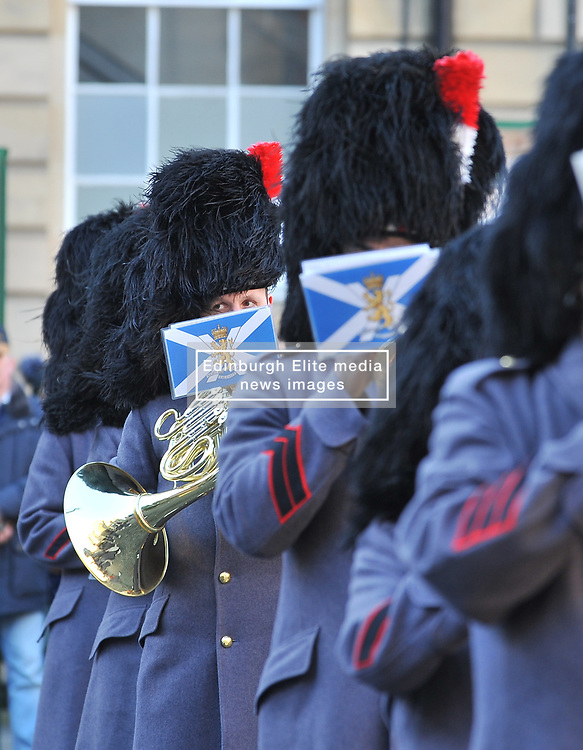 The band of the Royal Regiment of Scotland welcome the Princess Royal arrives for a memorial service to pioneering WW1 medic Elsie Inglis in Edinburgh and meets descendants of the Scottish doctor.<br /> <br /> © Dave Johnston/ EEm