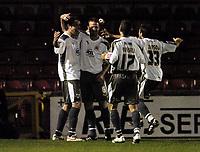 Photo: Olly Greenwood.<br />Leyton Orient v Bristol City. Coca Cola League 1. 01/11/2006. Bristol's Richard Keogh celebrates scoring with his team mates