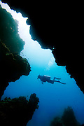 Person scuba diving in clear waters of Cozumel, Mexico