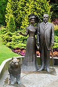 Statue of George Armitstead Former Mayor of Riga, with wife and dog at the National Opera Gardens, Riga, Latvia