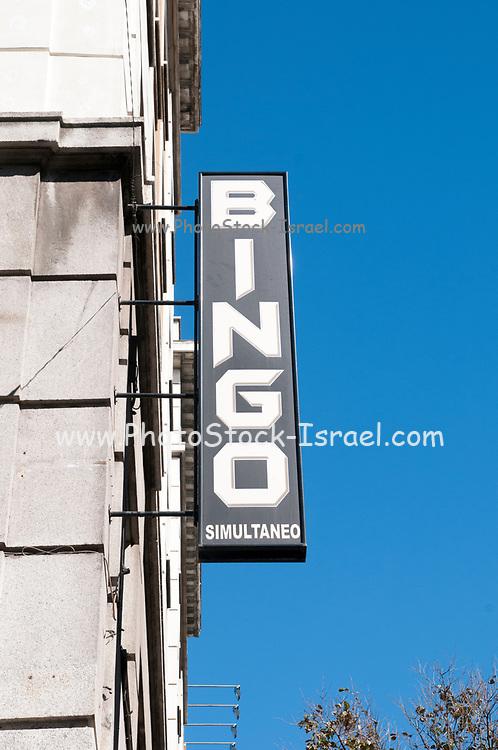 Bingo sign Photographed in Madrid, Spain