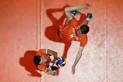 21-09-2019 NED: EC Volleyball 2019 Netherlands - Germany, Apeldoorn<br /> 1/8 final EC Volleyball / Wessel Keemink #2 of Netherlands, Luuc van der Ent #5 of Netherlands