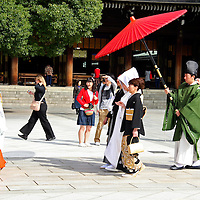 Asia, Japan, Tokyo. Traditional bridal procession for a Japanese wedding.