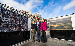 Edinburgh, Scotland, UK. 20 March, 2019. The  opening of a major outdoor photography exhibition highlighting the impact humans have on the natural world, called  A Human Touch, in front of the Scottish Parliament as part of Edinburgh Science Festival. Pictured L to R, Edinburgh Science Festival's Festival and Creative Director Amanda Tyndall, the Scottish Parliament's Presiding Officer, Ken Macintosh MSP, Oceana's Communications Director Marta Madina