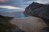 View over Bunes beach, Moskenesøy, Lofoten Islands, Norway