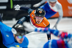 Dylan Hoogerwerf of Netherlands in action on 500 meter during ISU World Short Track speed skating Championships on March 06, 2021 in Dordrecht