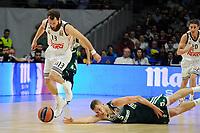 Real Madrid´s Sergio Rodriguez and Zalgiris Kaunas´s Siim-Sander Vene during 2014-15 Euroleague Basketball match between Real Madrid and Zalgiris Kaunas at Palacio de los Deportes stadium in Madrid, Spain. April 10, 2015. (ALTERPHOTOS/Luis Fernandez)