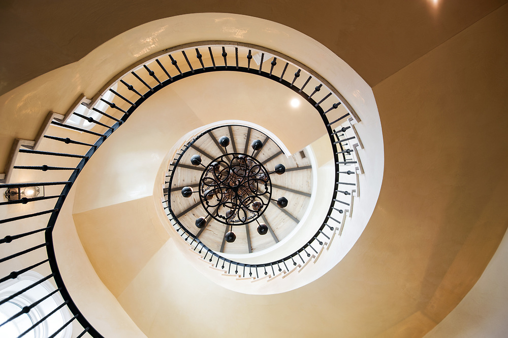 Architectural view of a spiral staircase