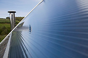 A solar thermal panel on the roof of Pinmore ceramics gallery. Solar water heating systems use heat from the sun to work alongside your conventional water heater