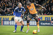 Mohamed Diamé (Hull City) controls the ball during the Sky Bet Championship match between Hull City and Cardiff City at the KC Stadium, Kingston upon Hull, England on 13 January 2016. Photo by Mark P Doherty.